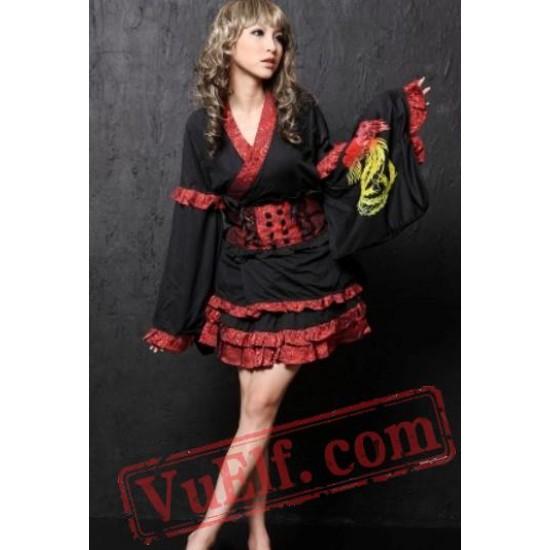 Black Red Japanese Gothic Geisha Cosplay Dress