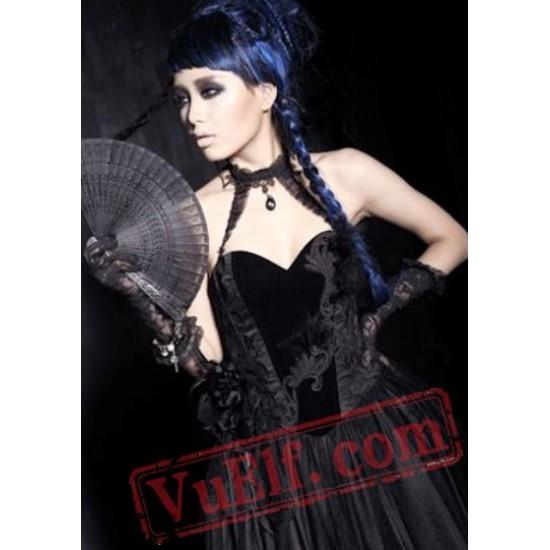 Black Victorian Gothic Halter Wedding Bridal Dress