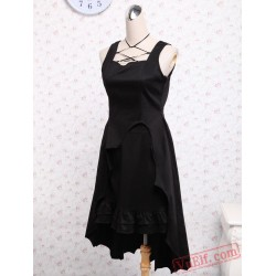 Black Cotton Ruffled Gothic Lolita Dress