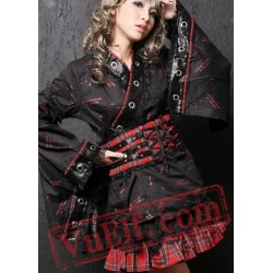 Black Red Plaid Japanese Cosplay Dress