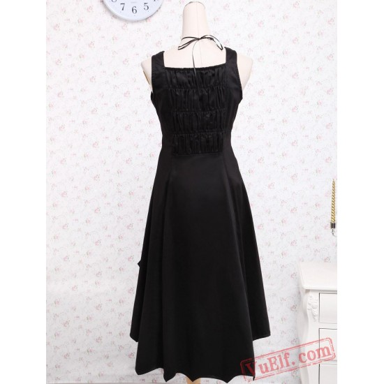 Black Cotton Ruffled Gothic Lolita Dress