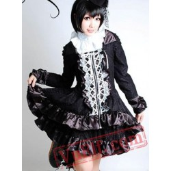 Black Long Sleeve White Lace Victorian Gothic Dress