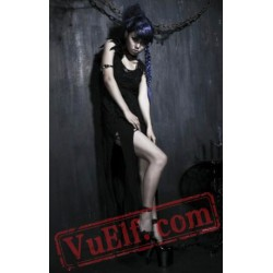Black Sleeveless Gothic Cosplay Cocktail Dress