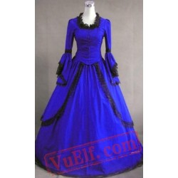 Blue Long Sleeve Winter Colonial Goth Wedding Dress