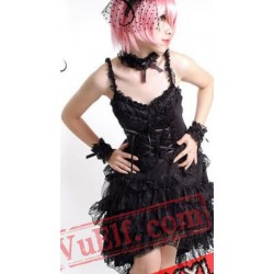 Black Spaghetti Gothic Corset Cocktail Dress
