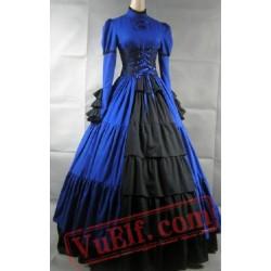 Blue Long Sleeve Corset Medieval Goth Wedding Dress