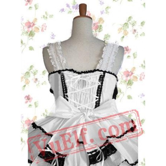 Black And White Sleeveless Bandage Cotton Gothic Lolita Dress