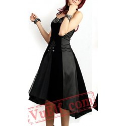 Black Strapless Corset Punk Gothic Prom Dress