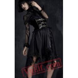 Long Black Gold High Waisted Goth Corset Wedding Dress