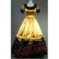 Gold Short Sleeve Gothic Medieval Renaissance Wedding Prom Dress