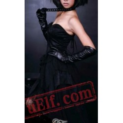 Black Strapless Gothic Cocktail Party Dress