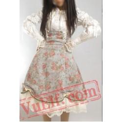 Gothic Lolita Long Lace High Waisted Corset Wedding Dress