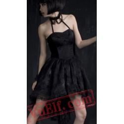 Little Black Halter Tea Length Gothic Punk Prom Dress