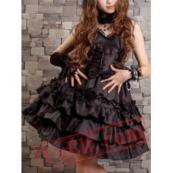 Little Black Short Gothic Lolita Prom Party Dress