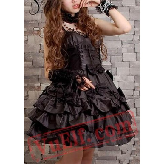 Little Black Short Gothic Lolita Prom Party Dress