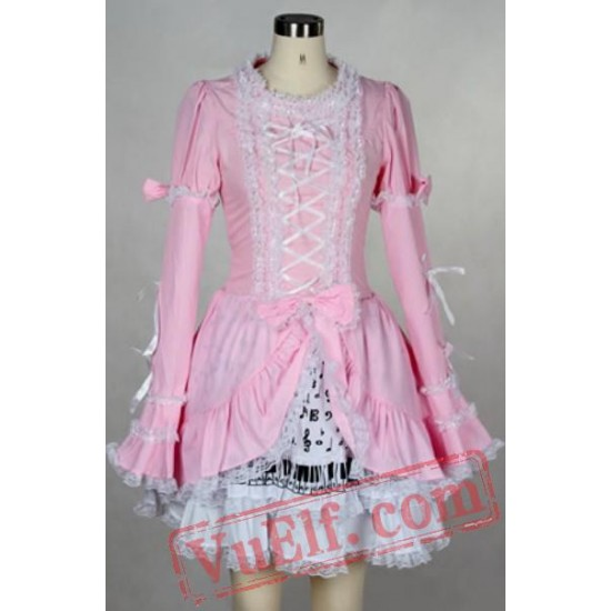 Pink Long Sleeve Summer Spring Gothic Lolita Prom Party Dress