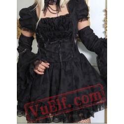 Little Black Short Sleeve Goth Wedding Prom Party Dress