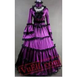 Purple Medieval Goth Cosplay Wedding Prom Dress