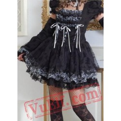Little Black Short Sleeved Goth Punk Prom Party Dress