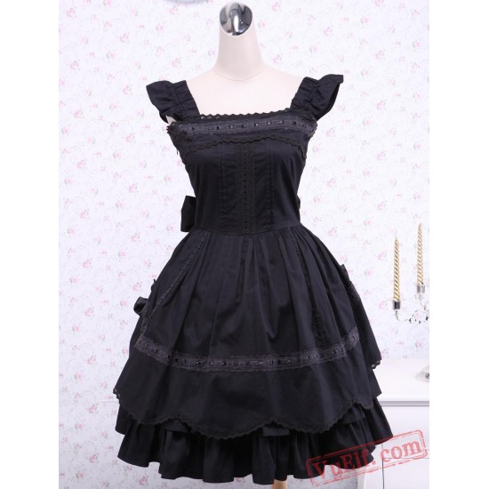 Black Bows Ruffles Cotton Gothic Lolita Dress
