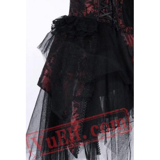 Red and Black Strapless Short Wedding Cocktail Party Dress