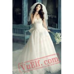 White Modern Sweetheart Beaded Lolita Wedding Dress