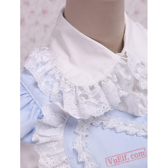 Cotton White Lolita Blouse And Blue Sweet Lolita Skirt