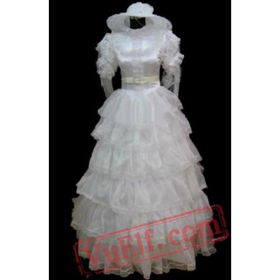 White Short Sleeve Lace Gothic Lolita Wedding Dress