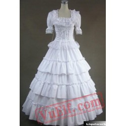 White Short Sleeve Victorian Gothic Lolita Wedding Prom Dress