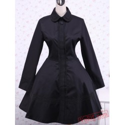 Black Cotton Turndown Collar Buttons Gothic Lolita Dress