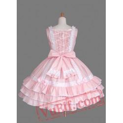Cute Multi layer Pink Bow Cotton Sweet Lolita Dress