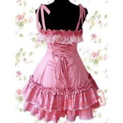 Cotton Pink Lace Ruffle Sweet Lolita Dress