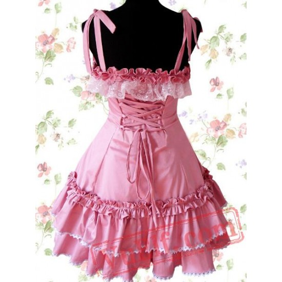 Cotton Pink Lace Ruffle Sweet Lolita Dress