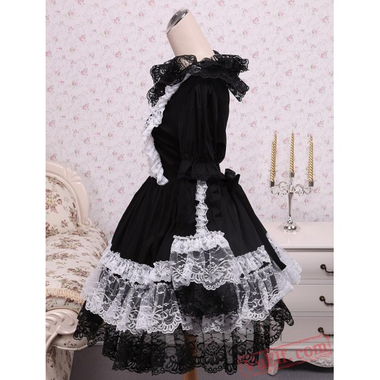 Gothic Black Long Sleeves Cotton Lolita Dress
