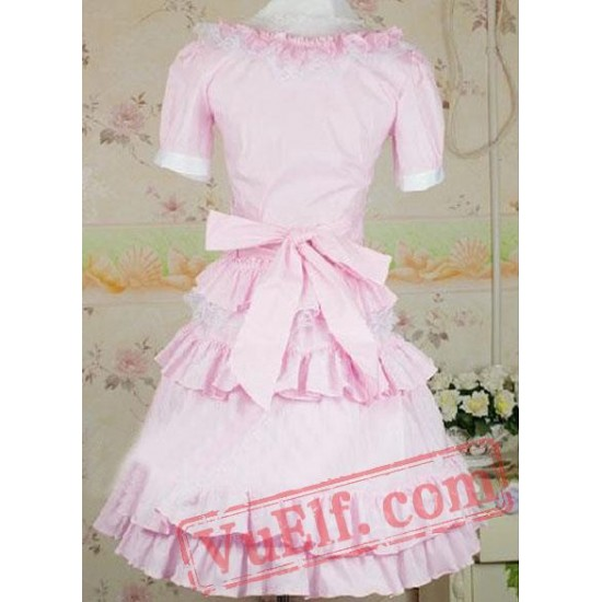 Cotton Pink Sweet Lolita Blouse And Skirt