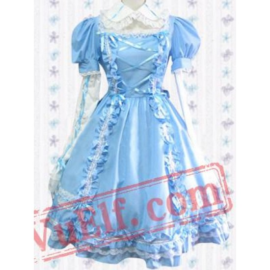 Lace Straps Pintucks Cotton Sweet Lolita Dress