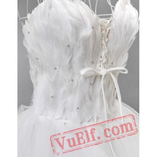 White Feather Gothic Fairy Tea Length Wedding Dress