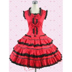 Cotton Red Multi Tiers Sweet Lolita Dress