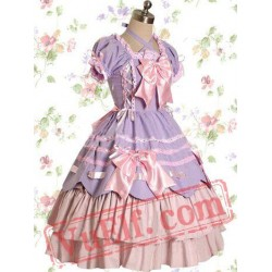 Light Purple And Pink Cotton Bandage Ruffle Bow Sweet Lolita Dre