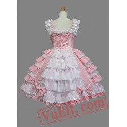 Lovely Pink Bow Multi layer Cotton Sweet Lolita Dress