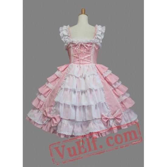 Lovely Pink Bow Multi layer Cotton Sweet Lolita Dress