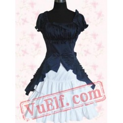 Navy And White Short Sleeves Cotton Sweet Lolita Dress