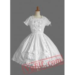 Pure White Lace Bow Cotton Lolita Dress