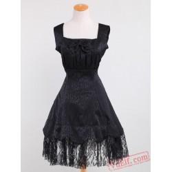 Black Lace Cotton Sweet Lolita Dress