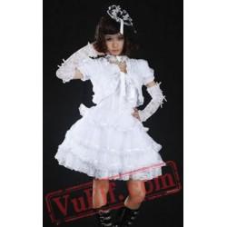 White Lace Spaghetti Tiered Gothic Wedding Dress