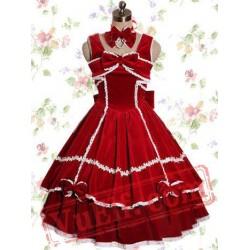Red Cotton Sleeveless Bows Sweet Lolita Dress