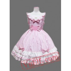 Pink and White Cap Sleeves Multi layer Bow Cotton Lolita Dress