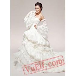 White Lace Victorian Gothic Corset Wedding Dress