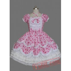 Pink Bow Short Sleeves Cotton Sweet Lolita Dress