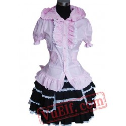 Short Sleeves Single breasted Cotton Lolita Suit